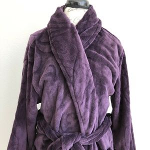 Natori Bath Robe Long Purple Plush Fleece Sz XL